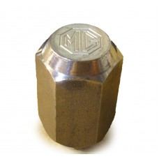 Stainless steel wheel nut.  With MG logo